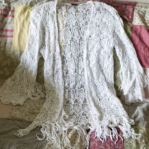 ⚡Flash🔥FlashBKE gimmicks crochet fringe cardigan